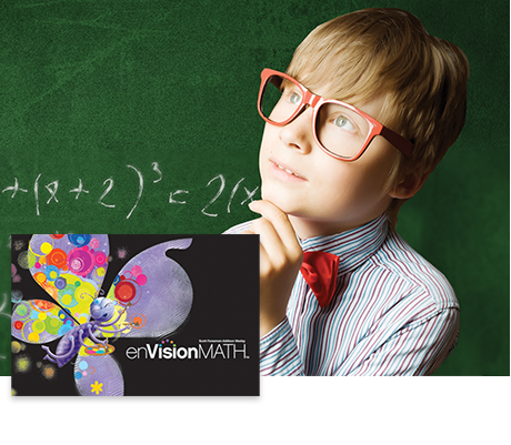 enVisionMath - engaged child with math equations on chalkboard